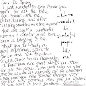 a thank you note written to dr. spring